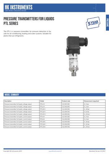 PTL Pressure transmitter for liquids