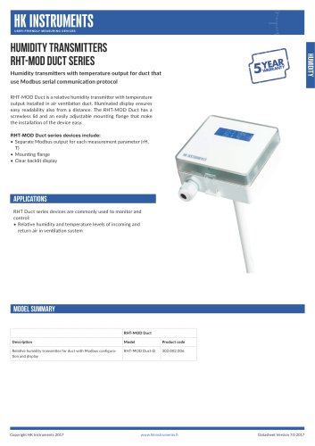 RHT-MOD Duct Humidity transmitter for duct with Modbus