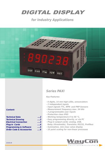 Display Control PAXI for incremental signal
