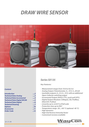 Long Range Draw Wire Sensor SX135 up to 42.5 m