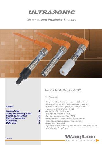 Ultrasonic Distance Sensor UFA200, UFA150FB, UFA150CP