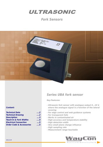 Ultrasonic Sensors UBA-AT-30, UBA-AT-40