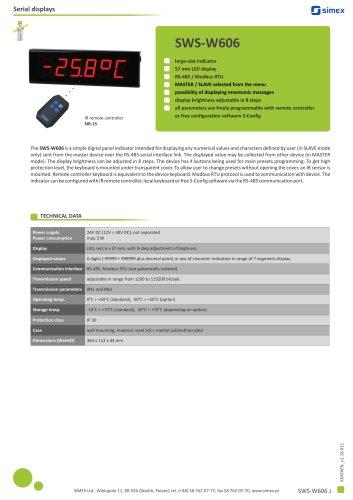 Large-size indicator SWS-W606 datasheet