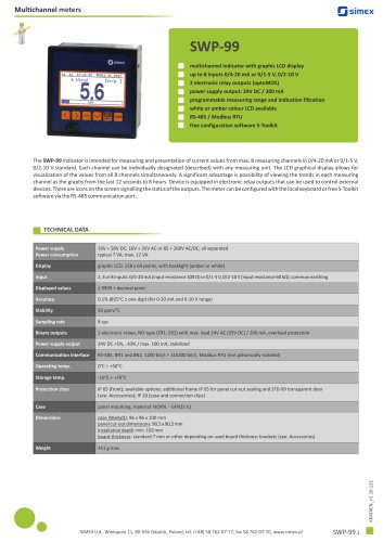 Multichannel indicator SWP-99 datasheet
