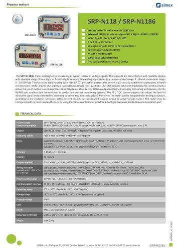 Process IP67 meter SRP-N118/N1186 datasheet