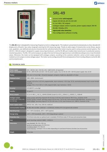 Process meter with bargraph SRL-49 datasheet