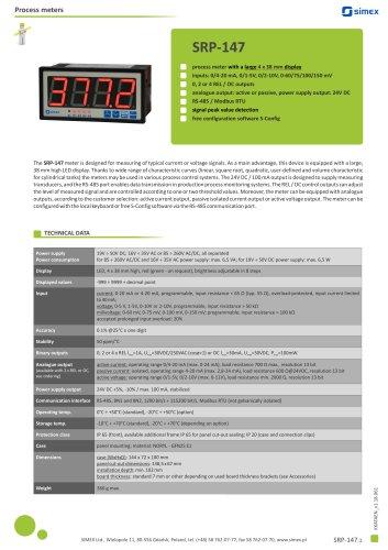 Process meter SRP-147 datasheet