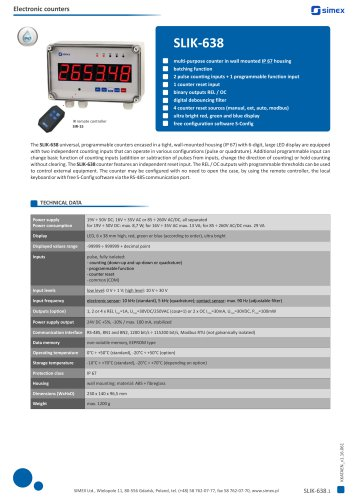 Universal IP67 programmable counter SLIK-638 datasheet