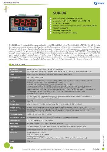 Universal meter SUR-94 datasheet