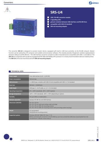 USB/RS-485 converter SRS-U4 datasheet