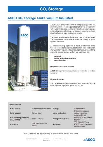 Vacuum insulated ASCO CO2 Storage Tank