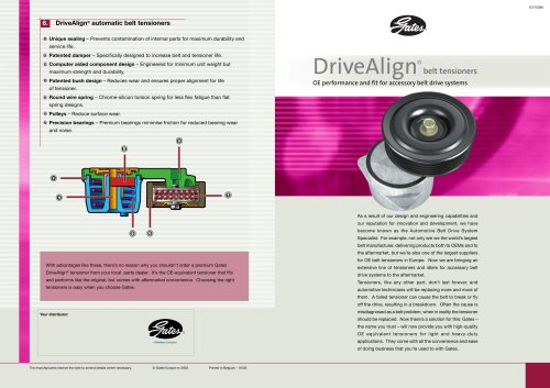 DriveAlign® belt tensioners