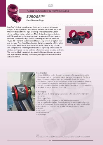 FLEXIBLE COUPLINGS FOR HIGH VIBRATION DAMPING EUROGRIP® Flexible couplings