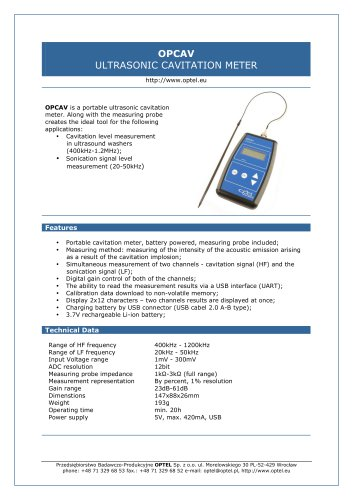 OPCAV ULTRASONIC CAVITATION METER