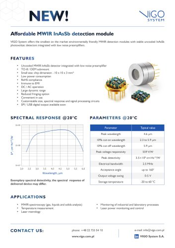 Affordable MWIR InAsSb IR detection module