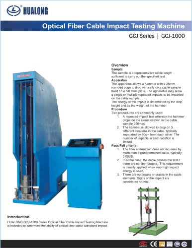 HUALONG|Impact Testing Machine|GCJ-1000|Optical fibre cable