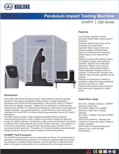 HUALONG|Pendulum impact testing machine|CBD|150~750J
