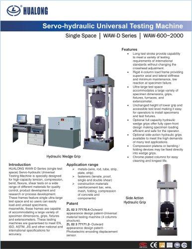 HUALONG|Servo-Hydraulic Universal Testing Machine|WAW-D-Single space|600~3000kN