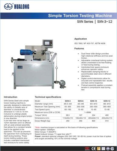 HUALONG|Simple Torsion testing machine|SXN|3~12mm|Steel wire