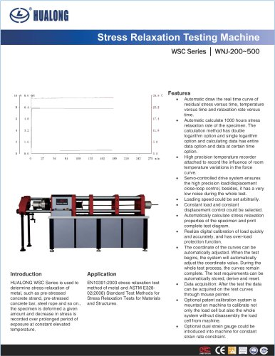 HUALONG|Tensile stress relaxation tester|WSC|200~500kN|Strand wire