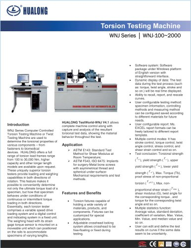 HUALONG|Torsion testing machine|WNJ|100~upon request