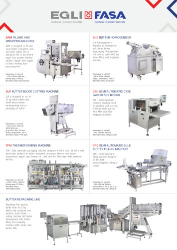 FASA MINI CATALOGUE - PROCESSING AND PACKAGING SOLUTIONS FOR DAIRY INDUSTRY