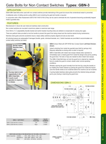 GBN-3 Gate Bolt for Non-Contact Switches - Idem Safety