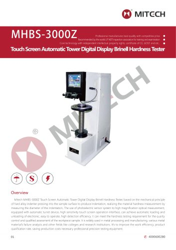 MITECH MHBS-3000Z Touch Screen Automatic Tower Digital Display Brinell Hardness Tester