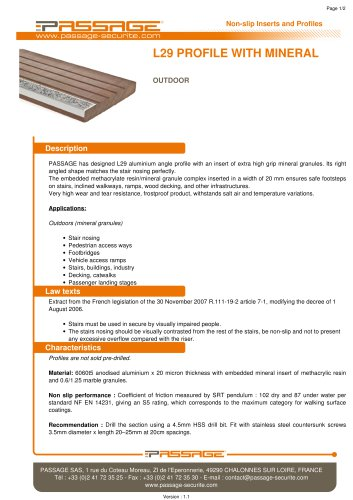 L29 profile with mineral Outdoor