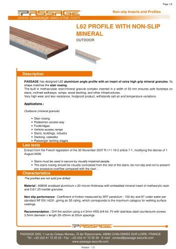 L62 profile with non-slip mineral