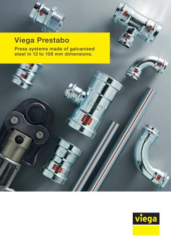 Viega Prestabo. Press systems made of galvanised steel in 12 to 108 mm dimensions.