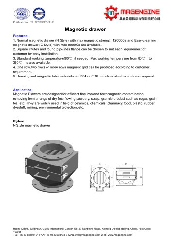 Magengine's catalogue of magnetic drawer for magnetic separator