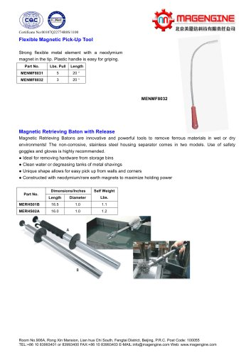 Magengine's Flexible Magnetic Pick-Up and Magnetic retrieving baton with release for removing ferrous materials