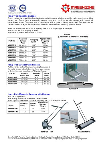 Magengine's Hang-Type Magnetic Sweeper and Heavy duty magnetic sweeper with release for collecting metal items