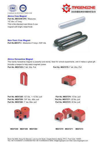 Magengine's Heavy Duty cow magnet for superior magnetic strength and AlNiCo horseshoe magnet for school experiments