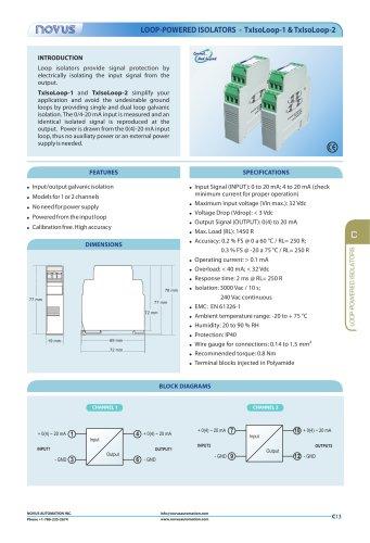 LOOP-POWERED ISOLATORS - TxIsoLoop-1 &TxIsoLoop-2