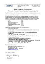 NOVUS RoHS Certificate of Compliance