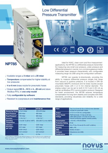 pressure transmitter np785