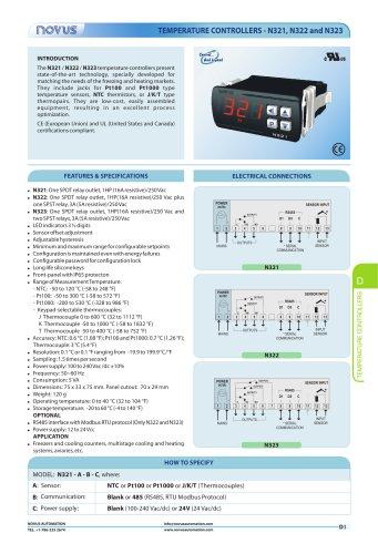 TEMPERATURE CONTROLLERS - N321, N322 and N323