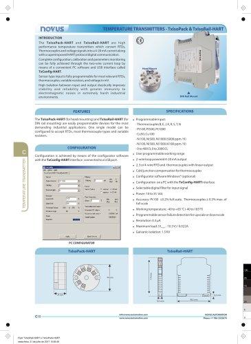 TEMPERATURE TRANSMITTERS - TxIsoPack & TxIsoRail-HART