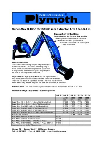Super-Max D.100/125/160/200 mm Extractor Arm 1.5•2•3•4 m