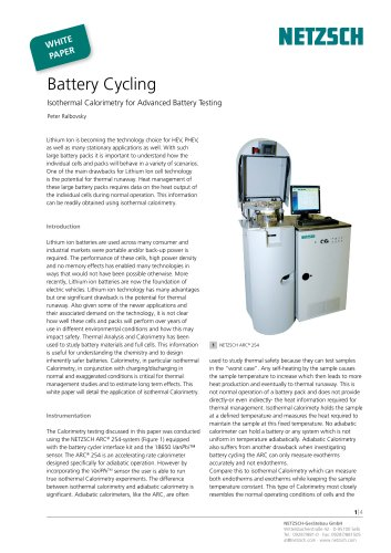 Battery Cycling Isothermal Calorimetry for Advanced Battery Testing - White Paper