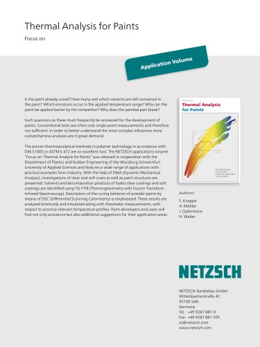 Focus on: Thermal Analysis for Paints