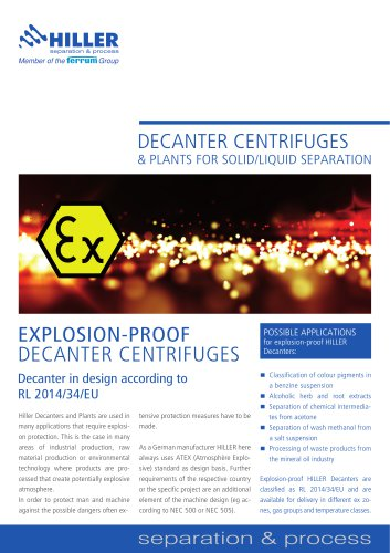 Explosion-Proof Decanter Centrifuges (ATEX)