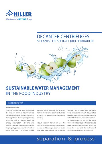 Water Management in the Food Industry