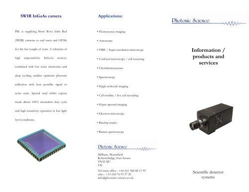 High Resolution InGaAs / SWIR camera