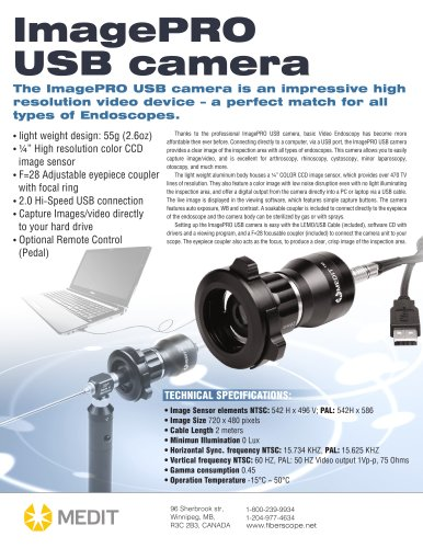 ImagePRO USB Video Camera for borescope