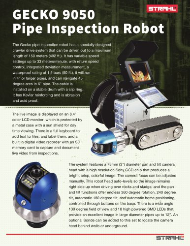 Pipe inspection Crawler Gecko 9050