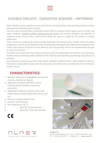 FLEXIBLE CIRCUITS - CAPACITIVE SENSORS – ANTENNAS