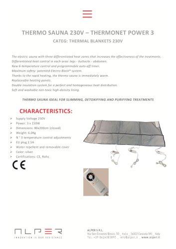 THERMO SAUNA 230V – THERMONET POWER 3 - CATEG: THERMAL BLANKETS 230V
